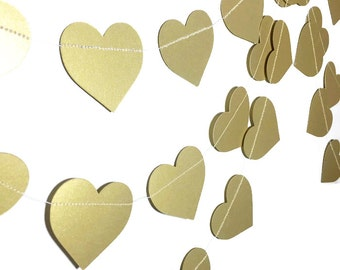 Party Decorations - Wedding Decor - Valentine's Day Garland - Heart Decorations- Gold Garland - Gold Heart Garland - Heart Garland - 10 Feet