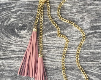 Leather Tassel Long Necklace - Gold/Ballerina Soft Pink Leather