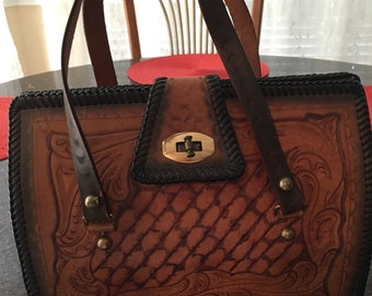 Mint Condition Vintage Hand-tooled Leather Western Purse