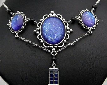 Doctor Who inspired Necklace Collier fashion jewelry Fandom large XL opulent Tardis blue Galaxy holographic Timelord Timelady shimmer dark