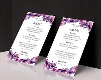 Wedding menu printable Boho menu card Purple wedding Menu template lavender Floral wedding menu Painted wedding Botanical menu cards 1W63