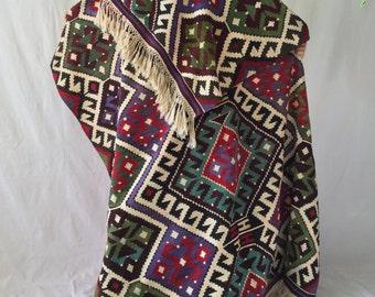 Incredible very large colorful vintage wool kilim rug 5x11ft