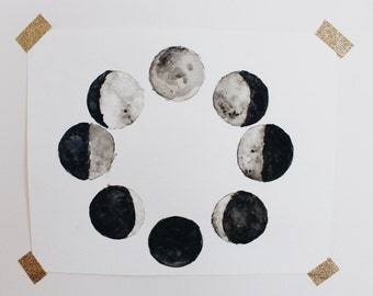 Phases of the Moon Watercolor