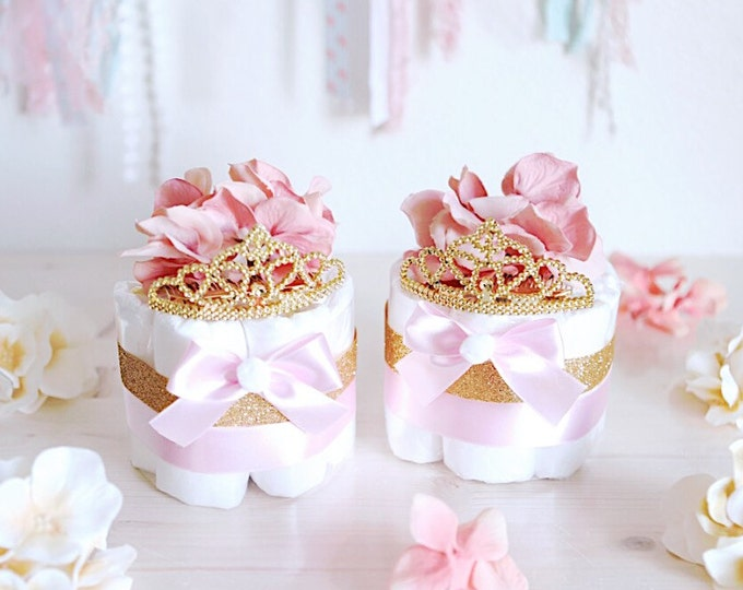 Featured listing image: Pink & Gold Princess MINI Diaper Cake / Baby Shower Centerpieces decorations / Girls Room Nursery Decor / New mom unique gifts / Tiara Crown