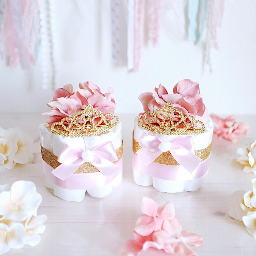 Pink gold princess mini diaper cake baby shower