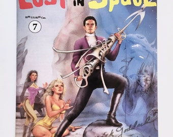 Lost in Space Comic Book, Signed, Numbered in Gold, TV Show, Mark Goddard, Autograph, Major Don West, Volume 1, Certificate Included