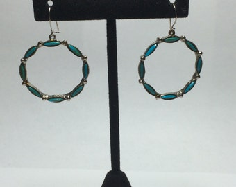 Silver Tone Circular Faux Turquoise Earrings 9386