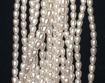 Teardrop Glass Pearl Beads, 7x5mm, Bright White, 70400, 75 Beads, Czech Glass