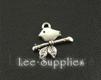 50pcs Antique Silver Bird On Branch Round Charms Pendant A1593