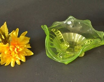 Antique Northwood Fluted Scroll Vaseline Glass Candy Dish