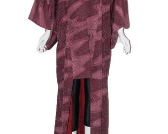 Vintage kimono full length cosmic purple
