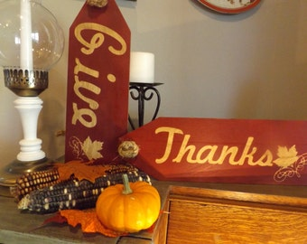 Fall _ Give Thanks Over-Sized Tags (set of 2)