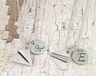 Best Friend Necklace, best friends Airplane necklace, personalized Paper Airplane silver charm, stewardess gift,  flight attendant gift
