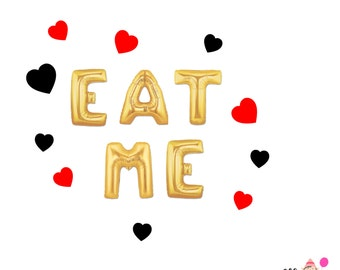 "16"" Gold/Silver EAT ME balloons/banner. Alice in wonderland balloons. Alice in wonderland decor. Alice and wonderland party. Eat me sign."
