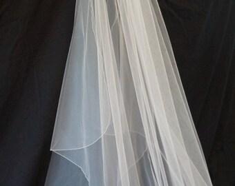 Ashley, Chapel Length Veil, Pencil Edge Veil, Waterfall Veil, Cascade Veil, Bridal Veil, Custom-Made Veil, Made-to-Order Veil
