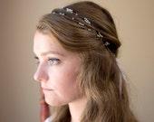 Alaine boho bridal hair piece, simple bridal or bridesmaid headband, beaded hair accessory