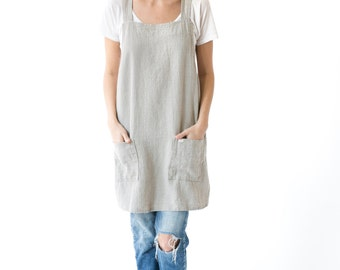 Linen Cross Back Apron in Sand Natural