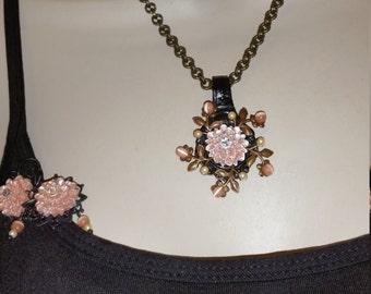 Cats Eye Flower Spoon Handle Necklace with Matching Earrings.  Absolutely Purrrfect!