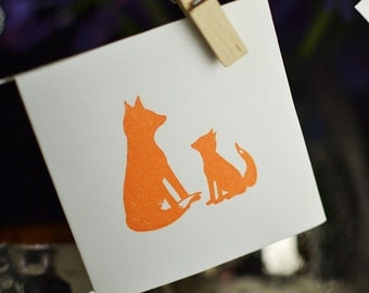 Fox and cub, 8 notecards, mini notecard set, new baby notecard set, baby announcement cards