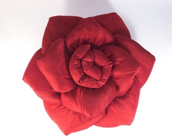 SoftlyRose red taffeta decorative pillow