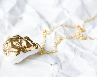 White porcelain pendant, porcelain jewelry, ceramic jewelry, OOAK jewelry, gold plated necklace, pendant necklace, small necklace
