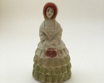 Vintage Victorian girl-shaped bell, ceramic girl-shaped bell, vintage bell figurine, Southern belle bell, ceramic bell figurine, girl bell