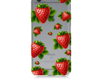 iPhone 7 Clear Case - Strawberries - Protective TPU cover for iPhone 7 - 7 plus - iPhone 6s -  6s plus - Samsung Galaxy s5 s6 s7 Note 7