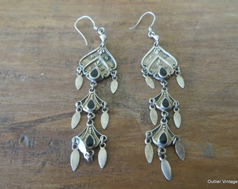 Vintage 925 Silver and Black Onyx Boho Dangle Drop Pierced Earrings with French Wire 1970s