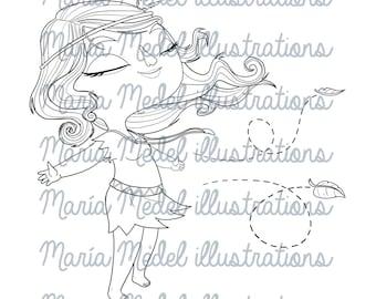 India descarga instantánea de la muchacha.  Sello digital, para colorear página, tatoo temporal, Ilustración de arte de línea.  Uso personal