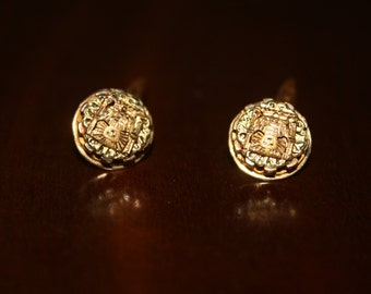 18 k Gold aztec cuff links cufflinks 12 grams