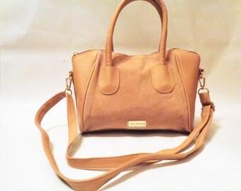 Genuine Leather Shoulder bag, Ted Lapidus Shoulder Bag, Ted Lapidus handbag, tan leather Shoulder Bag, Satchel, Paris Designer