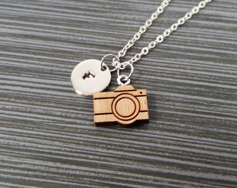 Wooden Camera Necklace - Wood Camera Charm Necklace - Personalized Necklace - Custom Gift - Initial Necklace - Photographer Gift