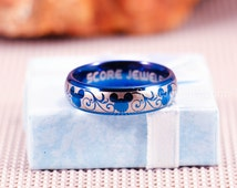 Blue Tungsten Band with Domed Edge Mickey Mouse Design Pattern Ring - 8mm or 6mm Tungsten Ring
