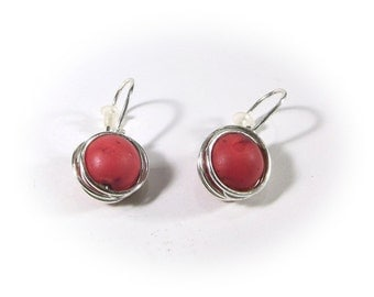 The red howlite earrings wire wrapping