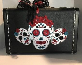 Vintage suitcase, Day of the Dead, Skulls, painted luggage, sugar skulls, dia de los muertos
