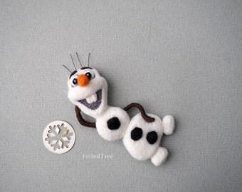 Felted wool brooch Frozen Olaf snowman christmas decoration handmade