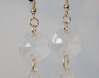 Tear Drop and Hexagon Bead Drop Earrings