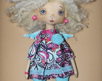 Doll Julia....LittleDoll, Girl, Cloth Doll, art doll,handmade.