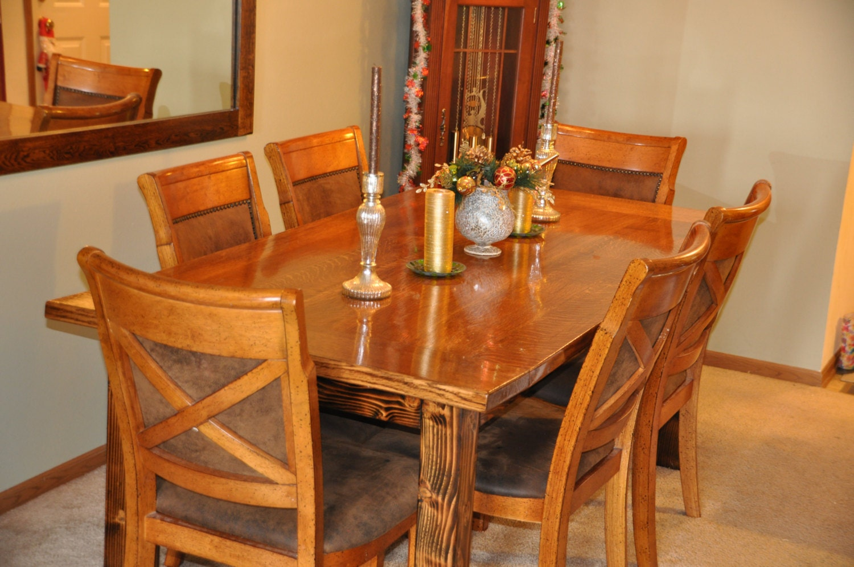 handcrafted hardwood dining room table by huntshandcraftedwood