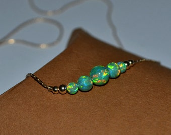 OPAL NECKLACE // Opal Charm Necklace - Kiwi Opal Ball Necklace - Single Bead Necklace - Tiny Opal Bead Necklace - Opal Drop Necklace