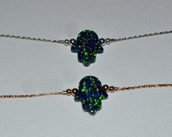 OPAL HAMSA BRACELET // Opal Bracelet Silver - Hand Of Fatima Bracelet - Opal Hand Bracelet - Good Luck Bracelet - Hamsa Charm Bracelet