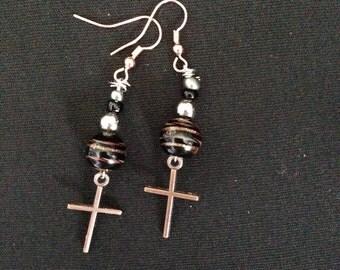 Black Shimmer Bead and Cross Dangle Earrings