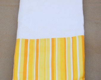 Kitchen Towel / White Tea Towel with Yellow Stripe Fabric w/ Crochet Trim