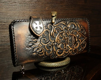 Hand-tooled leather biker wallet with a skull, carved biker wallet, leather wallet, skull wallet, men's wallet, long wallet, custom wallet