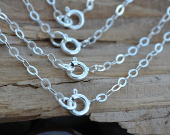Finished Necklace - Finish Chain Sterling Silver Flat Cable - 16 18 20 22 24 ,All quantities ,Bulk - Made in Italy High Quality 0.925 Silver