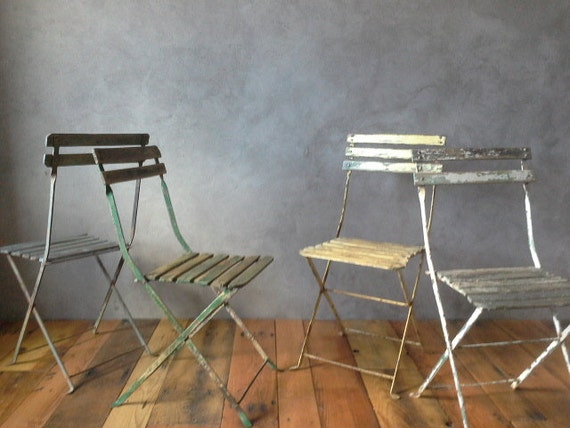 Vintage French Folding Bistro Metal And Wood Slat Chairs