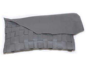 WOVEN CLUTCH// Grey leather clutch
