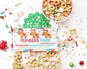 Reindeer Food Printable Bag Toppers, Christmas Party Bag Labels, Printable Christmas Reindeer Food Labels, Party Treat Bag Topper, Christmas