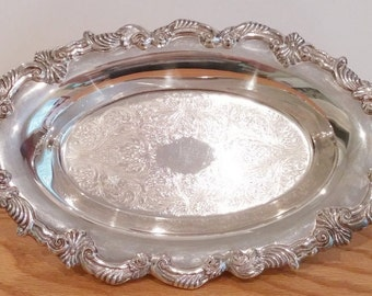 Vintage Silver on Copper Footed Candy Dish, Silver Footed Serving Dish