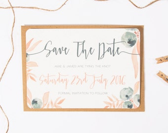 Berry Blush Printed Wedding Save the Date